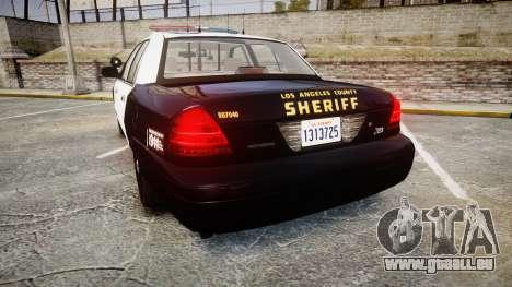 Ford Crown Victoria LASD [ELS] Marked pour GTA 4 Vue arrière de la gauche