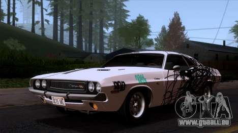 Dodge Challenger 426 Hemi (JS23) 1970 (HQLM) für GTA San Andreas obere Ansicht