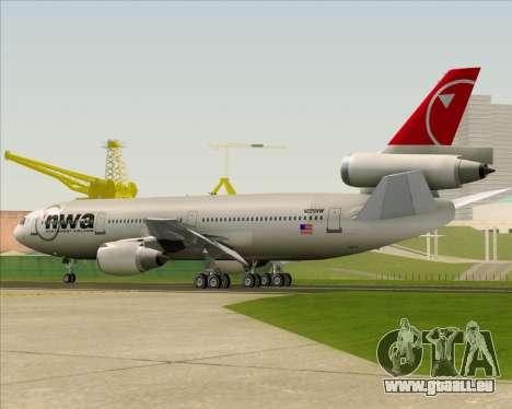 McDonnell Douglas DC-10-30 Northwest Airlines für GTA San Andreas Unteransicht