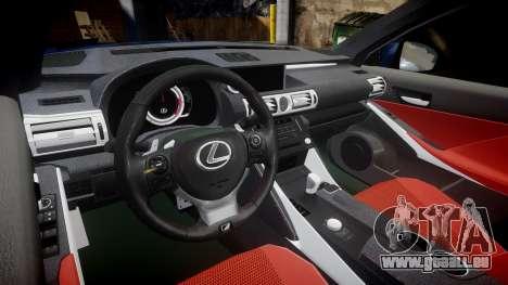 Lexus IS 350 F-Sport 2014 Rims1 für GTA 4 Innenansicht