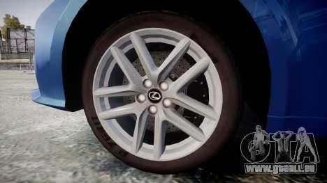 Lexus IS 350 F-Sport 2014 Rims1 für GTA 4 Rückansicht