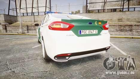Ford Mondeo 2014 Guardia Civil Cops [ELS] für GTA 4 hinten links Ansicht