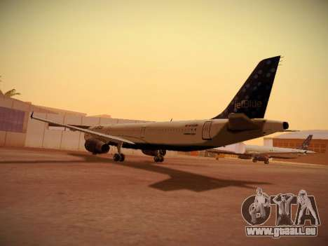 Airbus A321-232 Lets talk about Blue für GTA San Andreas zurück linke Ansicht