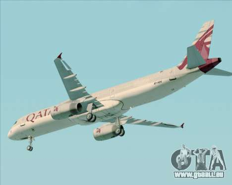 Airbus A321-200 Qatar Airways für GTA San Andreas obere Ansicht