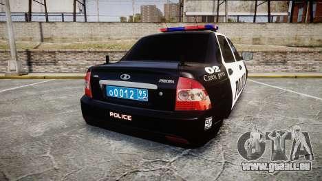 VAZ-2170 Priora Police pour GTA 4 Vue arrière de la gauche