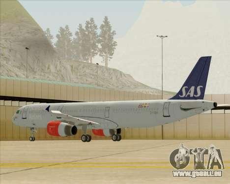 Airbus A321-200 Scandinavian Airlines System pour GTA San Andreas sur la vue arrière gauche