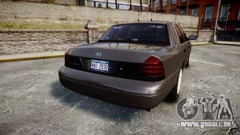Ford Crown Victoria Unmarked Police [ELS] pour GTA 4 Vue arrière de la gauche