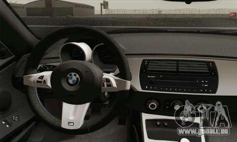 BMW Z4M Coupe 2008 Stock für GTA San Andreas zurück linke Ansicht