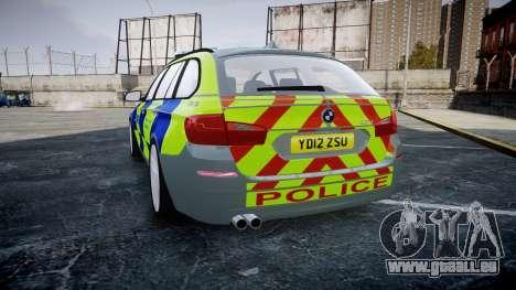 BMW 530d F11 Metropolitan Police [ELS] SEG pour GTA 4 Vue arrière de la gauche