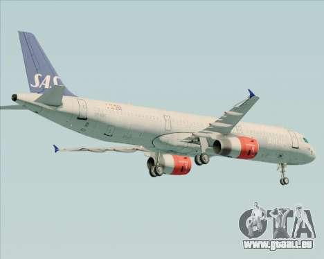 Airbus A321-200 Scandinavian Airlines System für GTA San Andreas Rückansicht
