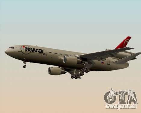 McDonnell Douglas DC-10-30 Northwest Airlines für GTA San Andreas zurück linke Ansicht