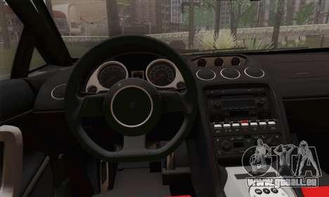 Lamborghini Gallardo 2005 pour GTA San Andreas sur la vue arrière gauche