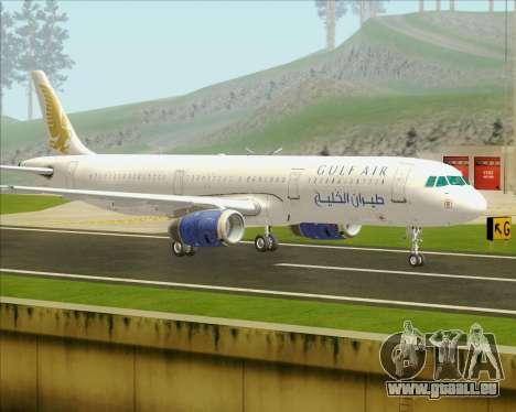 Airbus A321-200 Gulf Air pour GTA San Andreas sur la vue arrière gauche