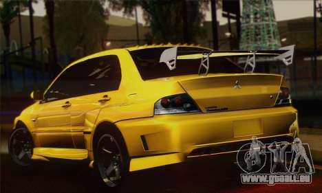 Mitsubishi Lancer Evolution VIII pour GTA San Andreas laissé vue