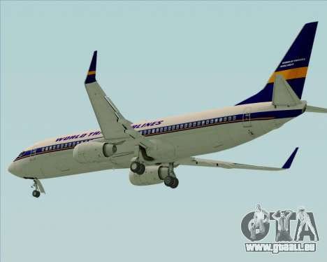 Boeing 737-800 World Travel Airlines (WTA) für GTA San Andreas zurück linke Ansicht