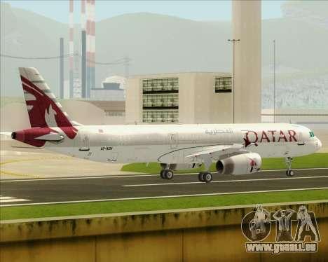 Airbus A321-200 Qatar Airways für GTA San Andreas zurück linke Ansicht