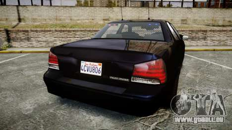 GTA V Vapid Cruiser Police Unmarked [ELS] Slick pour GTA 4 Vue arrière de la gauche