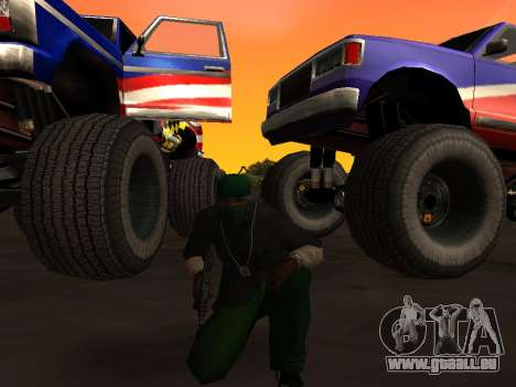 De nouvelles textures roues Monster pour GTA San Andreas sur la vue arrière gauche