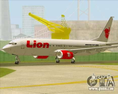 Boeing 737-800 Lion Air pour GTA San Andreas sur la vue arrière gauche