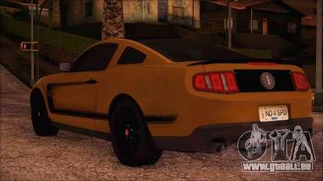 Ford Mustang Boss 302 2012 für GTA San Andreas linke Ansicht