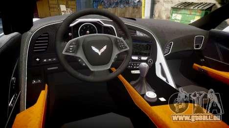 Chevrolet Corvette Z06 2015 TireBFG pour GTA 4 est une vue de l'intérieur