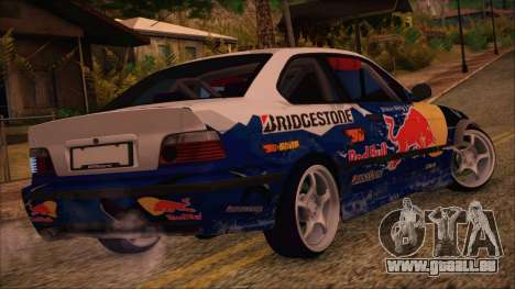 BMW E36 Coupe Bridgestone Red Bull pour GTA San Andreas laissé vue