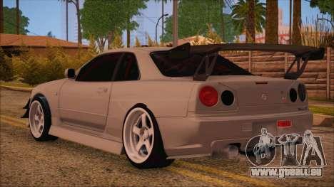 Nissan Skyline R34 GTR V-Spec 2 pour GTA San Andreas laissé vue