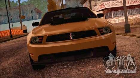 Ford Mustang Boss 302 2012 für GTA San Andreas zurück linke Ansicht