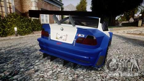 BMW M3 E46 GTR Most Wanted plate NFS pour GTA 4 Vue arrière de la gauche