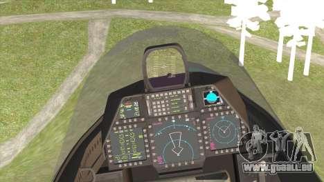F-22A Raptor Unpainted Factory Texture pour GTA San Andreas sur la vue arrière gauche