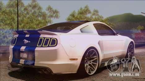 Ford Mustang GT 2012 pour GTA San Andreas laissé vue