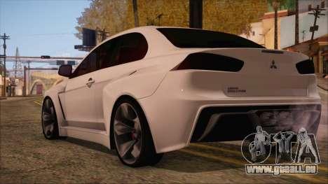 Mitsubishi Lancer Evolution X HD SHDru tuning v1 pour GTA San Andreas laissé vue