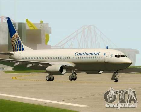 Boeing 737-800 Continental Airlines pour GTA San Andreas sur la vue arrière gauche