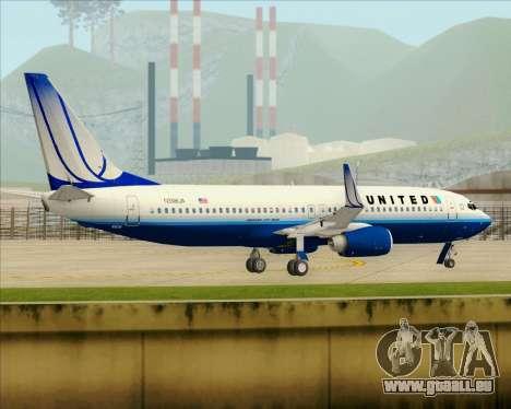 Boeing 737-800 United Airlines für GTA San Andreas Unteransicht