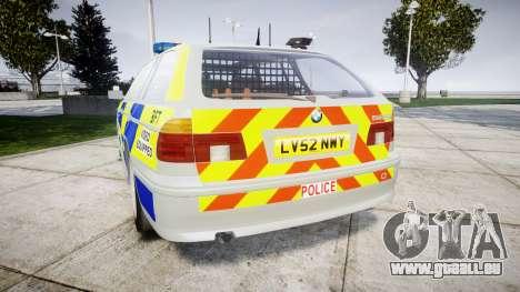 BMW 525i E39 Touring Police [ELS] BTV pour GTA 4 Vue arrière de la gauche