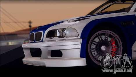 BMW M3 E46 GTR pour GTA San Andreas vue intérieure
