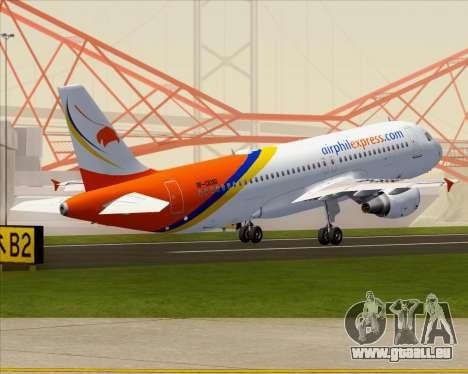 Airbus A320-200 Airphil Express pour GTA San Andreas vue de dessous