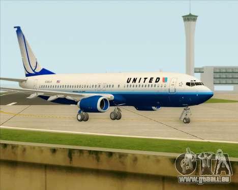 Boeing 737-800 United Airlines für GTA San Andreas zurück linke Ansicht