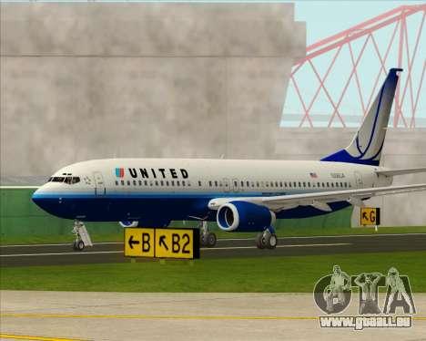 Boeing 737-800 United Airlines für GTA San Andreas Seitenansicht