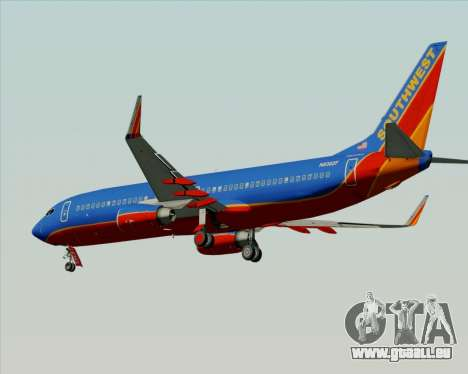 Boeing 737-800 Southwest Airlines für GTA San Andreas zurück linke Ansicht