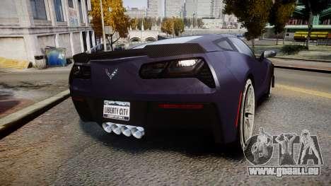Chevrolet Corvette Z06 2015 TireMi4 pour GTA 4 Vue arrière de la gauche