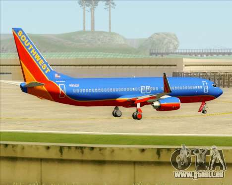 Boeing 737-800 Southwest Airlines pour GTA San Andreas vue de dessous