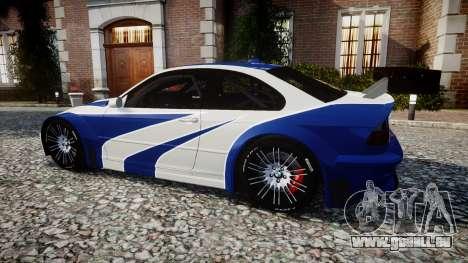 BMW M3 E46 GTR Most Wanted plate NFS für GTA 4 linke Ansicht
