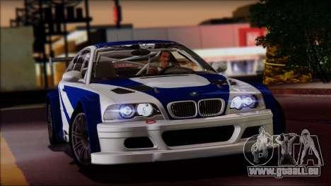 BMW M3 E46 GTR für GTA San Andreas zurück linke Ansicht