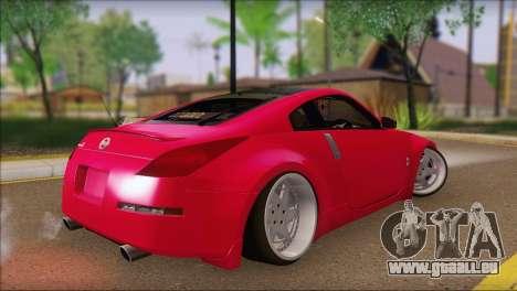 Nissan 350Z CAMBERGANG pour GTA San Andreas laissé vue