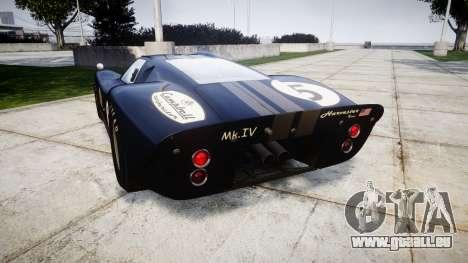 Ford GT40 Mark IV 1967 PJ Campbell 5 für GTA 4 hinten links Ansicht