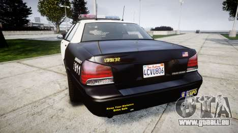 GTA V Vapid Police Cruiser Rotor pour GTA 4 Vue arrière de la gauche