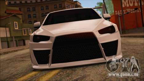Mitsubishi Lancer Evolution X HD SHDru tuning v1 für GTA San Andreas zurück linke Ansicht