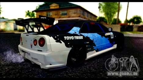 Nissan Skyline GT-R 34 Toyo Tires pour GTA San Andreas laissé vue