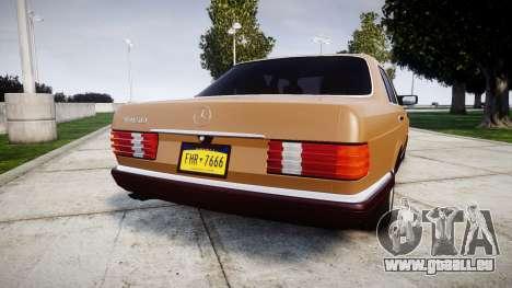 Mercedes-Benz 560SEL W126 pour GTA 4 Vue arrière de la gauche